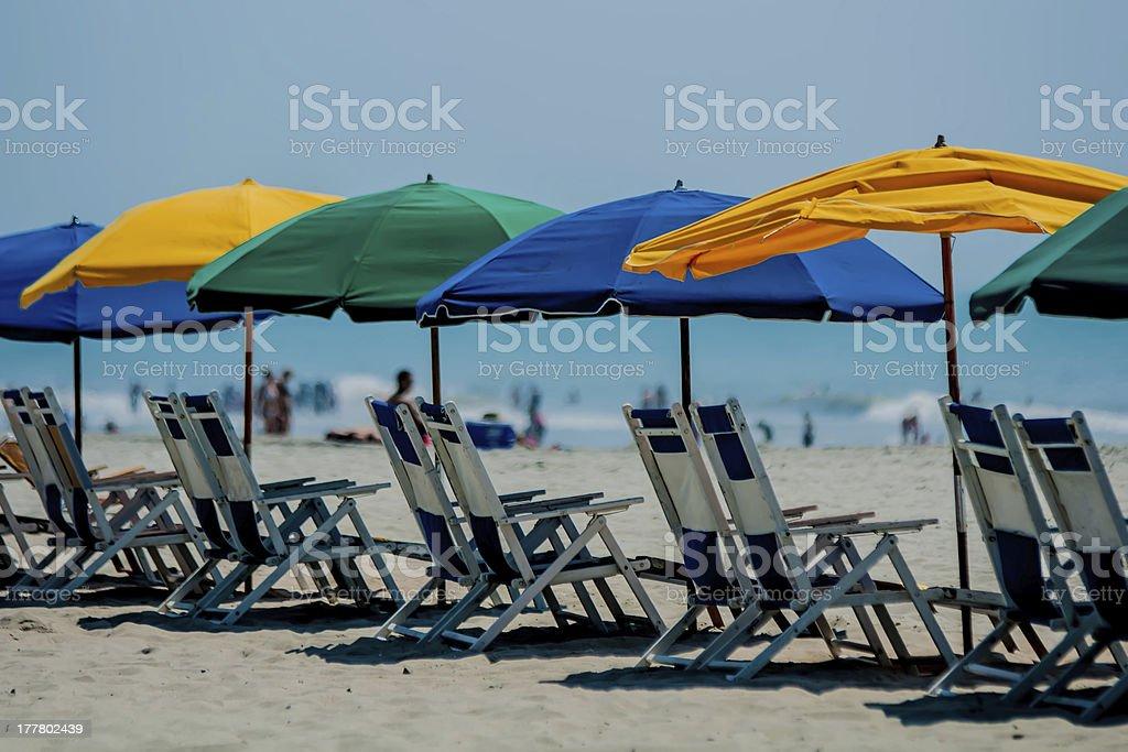 Beach umbrellas lining up at Myrtle Beach in South Carolina stock photo