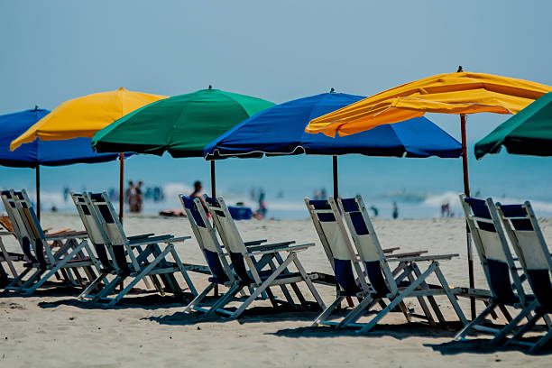 Beach umbrellas lining up at Myrtle Beach in South Carolina stock photo