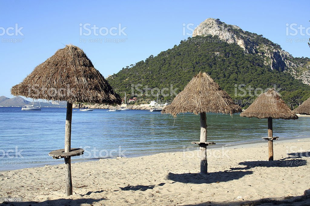 Beach umbrellas, Majorca, Playa de Formentor stock photo