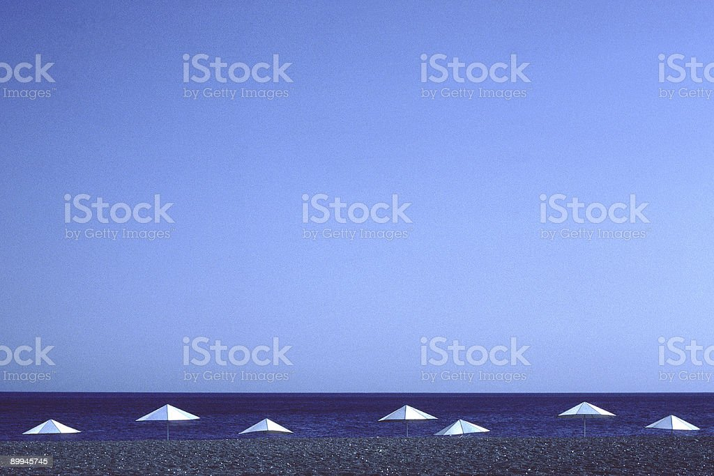 Beach Umbrellas, Perissa, Santorini, Greece stock photo