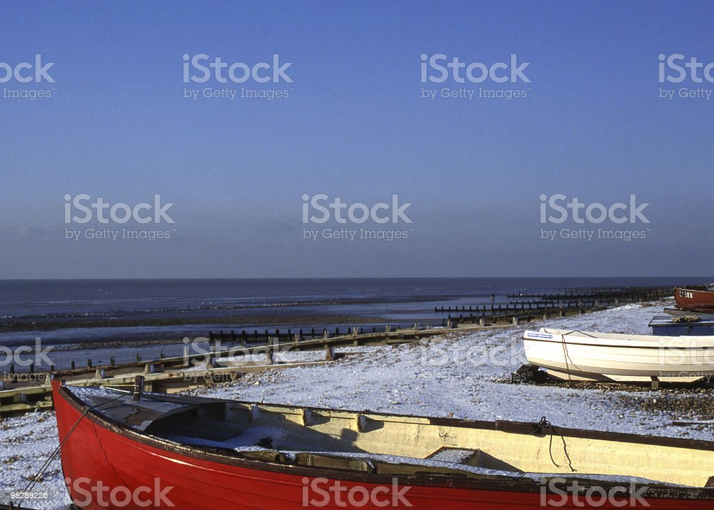 Beach under snow at Worthing, West Sussex, England royalty-free stock photo