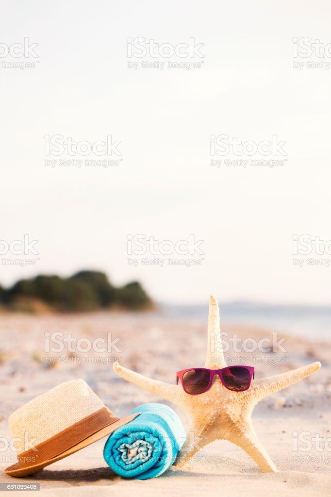 Beach vacation background stock photo