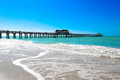 Sunrise on the beach at the Deerfield Beach International Fishing Pier in Deerfield Beach, Florida