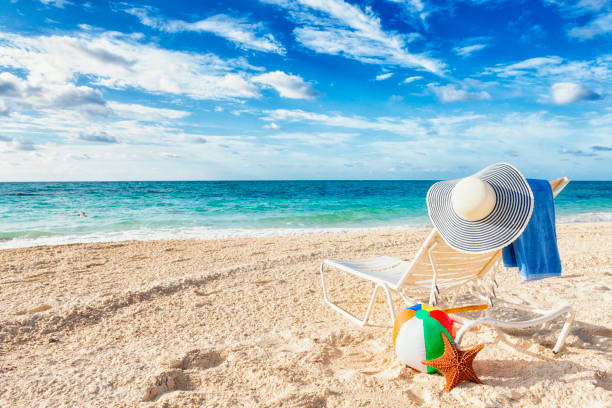 beach vacation in the bahamas - beach ball stock photos and pictures