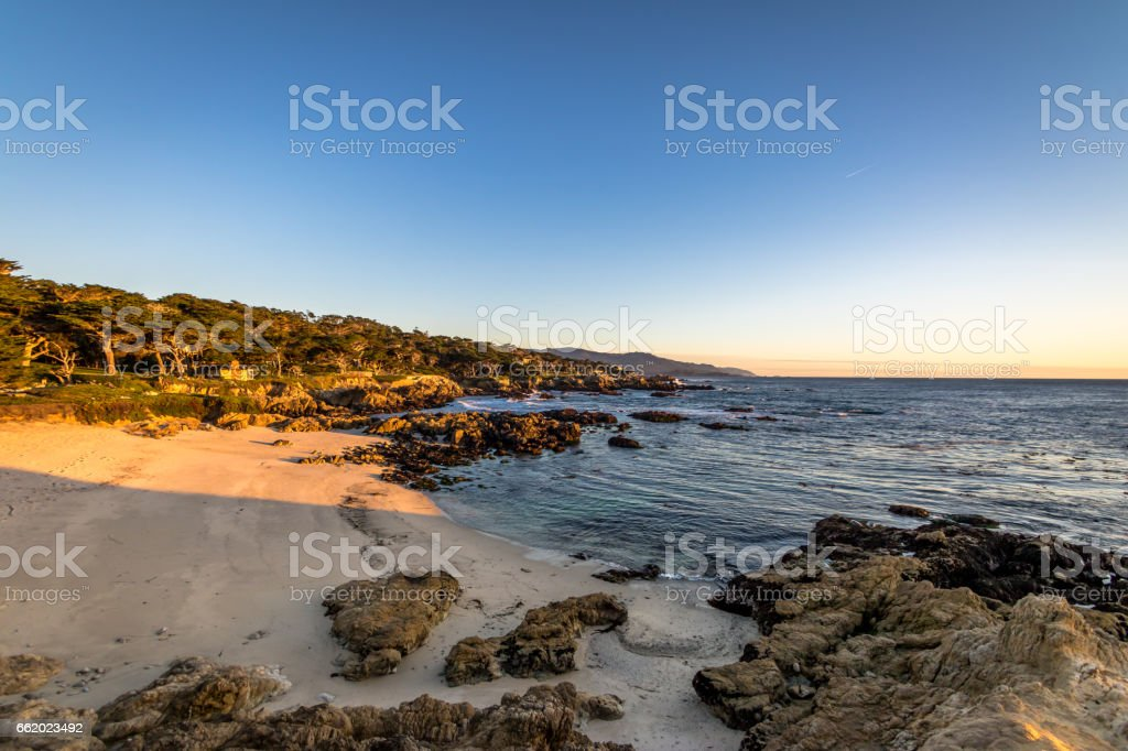 Beach view along famous 17 Mile Drive - Monterey, California, USA royalty-free stock photo