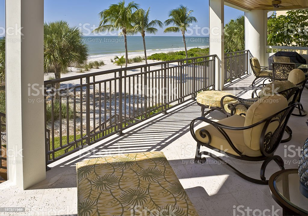 Beach View from Veranda of Estate Home in Florida stock photo