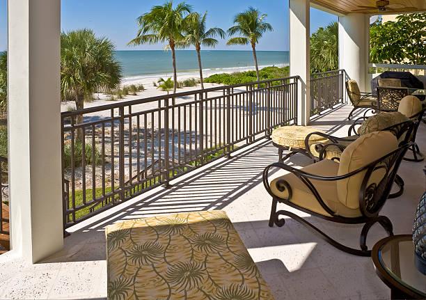 Beach View from Veranda of Estate Home in Florida stock photo