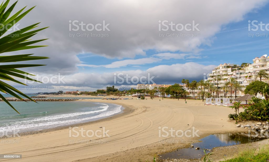 Beach view in Marbella, Southern Spain. stock photo