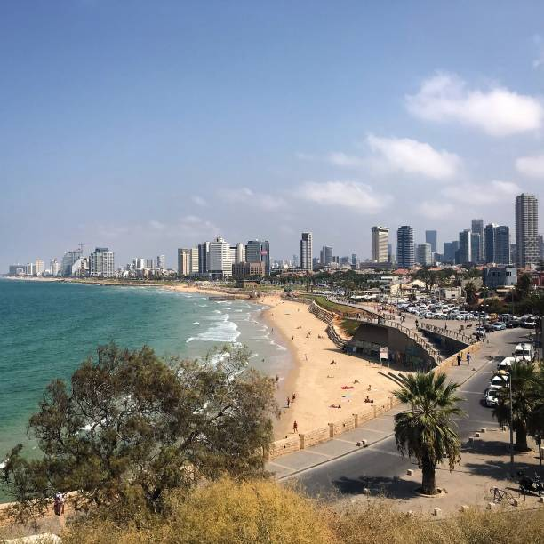 Beach view of Tel Aviv Israel stock photo