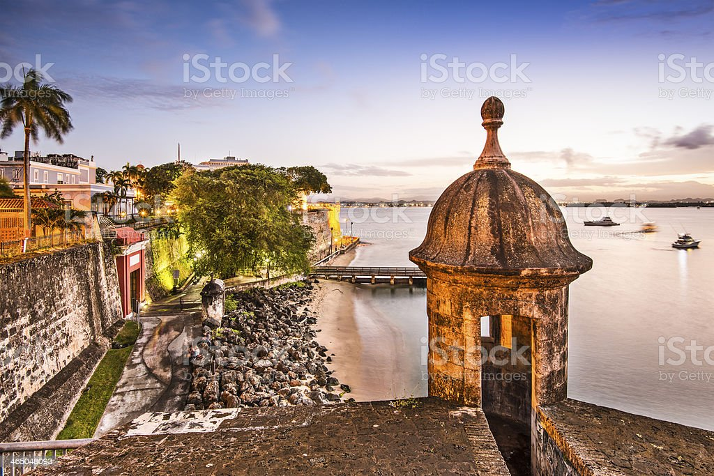 Beach view of the city of San Juan located in Puerto Rico stock photo