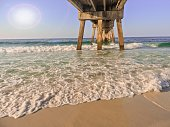 Emerald Coast Beach View From Under The Boardwalk On A Sunny Morning