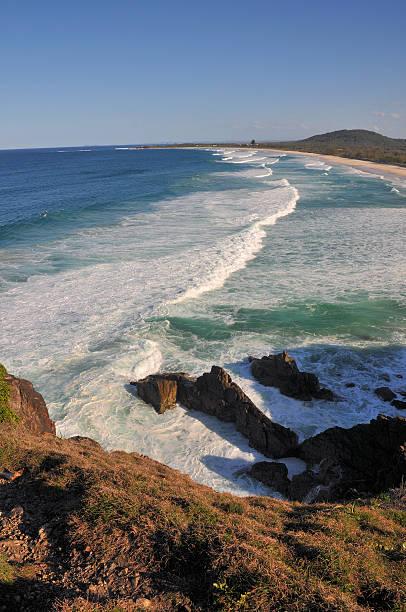 Beach view with wave line (Australia) stock photo