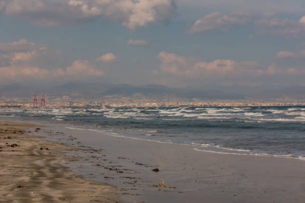 Beach view with white topped waves at Lady's Mile in Limassol. stock photo