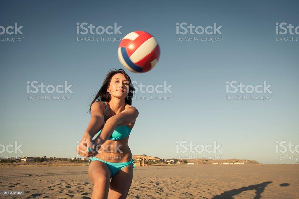 Beach voleyball stock photo