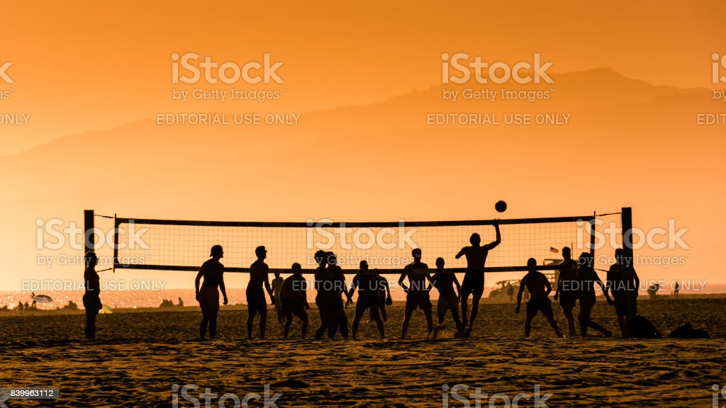 Beach Volley at Venice Beach stock photo