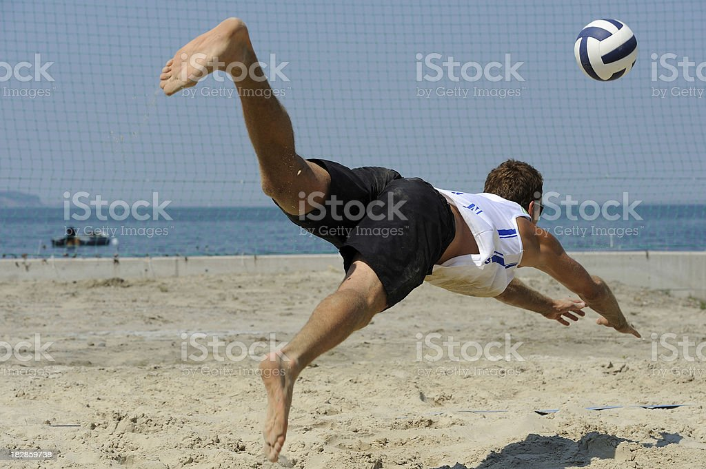 Beach volley attractive action royalty-free stock photo