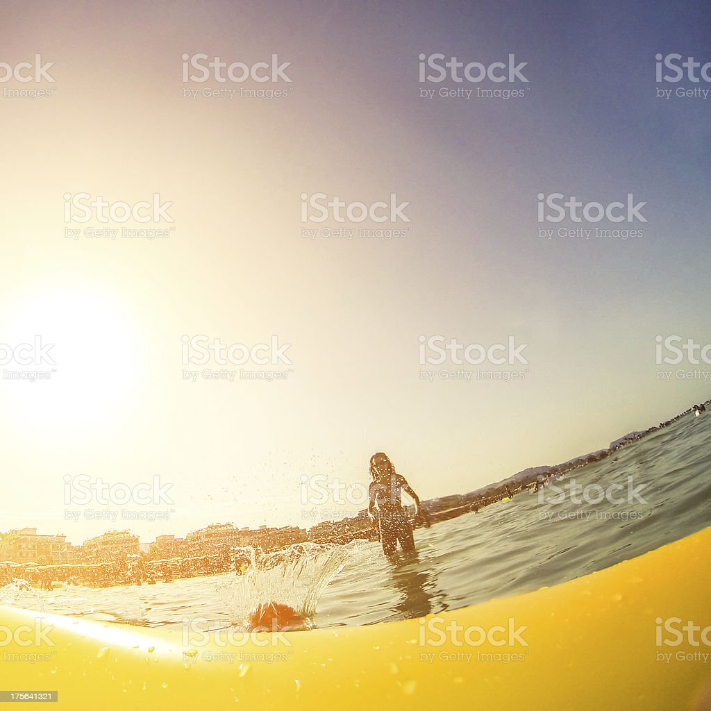 Beach volley in the sea royalty-free stock photo