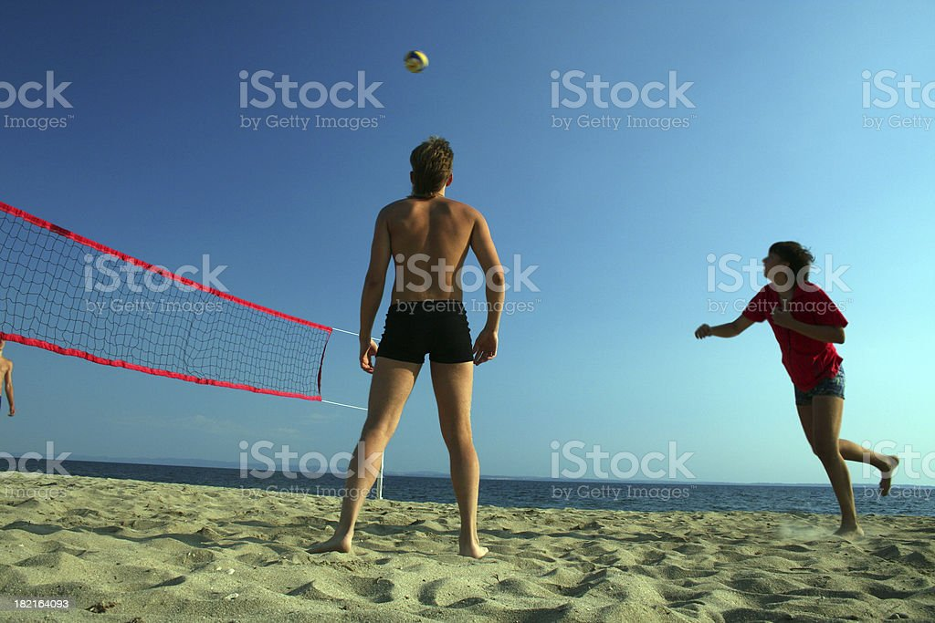 Beach volley, serving royalty-free stock photo