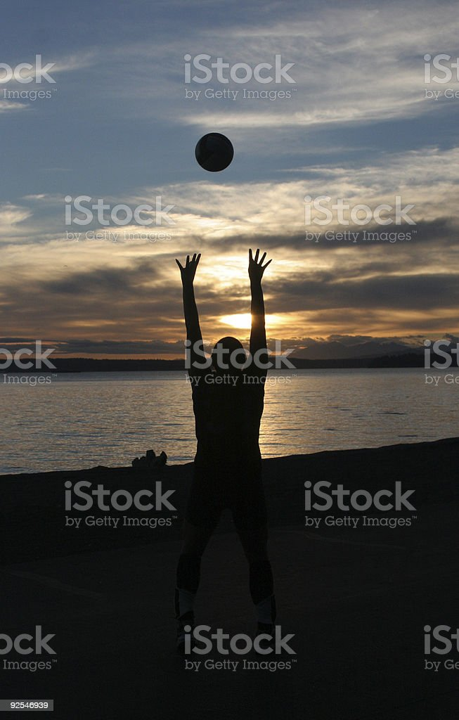 Beach Volleyball at Sunset - Royalty-free Beach Stock Photo