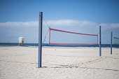 Beach volleyball courts on southern California beach in San Diego, CA, United States