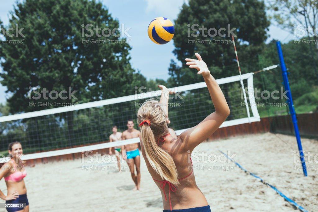 Beach volleyball fun stock photo