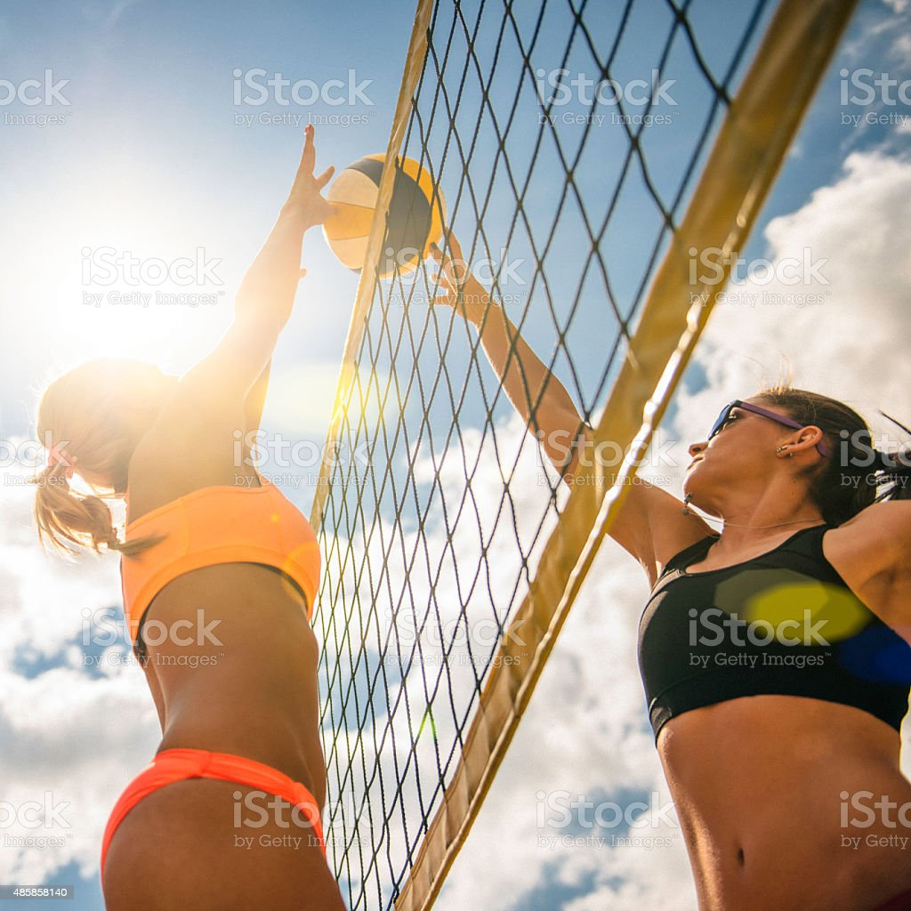Beach Volleyball Game stock photo