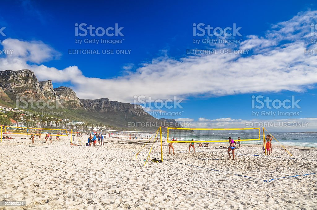 Beach volleyball in Camps Bay - Cape Town, South Africa stock photo