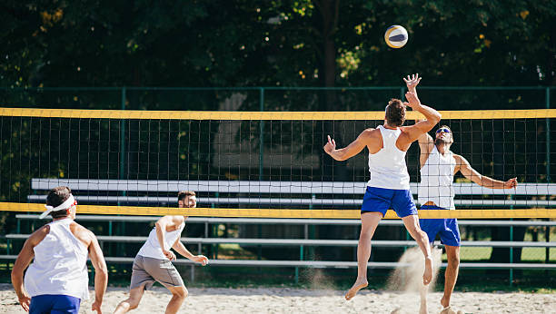 Beach Volleyball Men Action stock photo