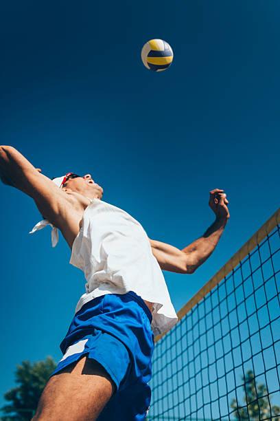 beach volleyball spike - 殺球 個照片及圖片檔