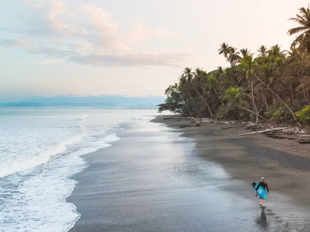 Beach Walk Surfer walking on a black sand beach in the tropics black sand stock pictures, royalty-free photos & images