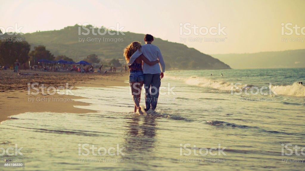 Beach walking away royalty-free stock photo