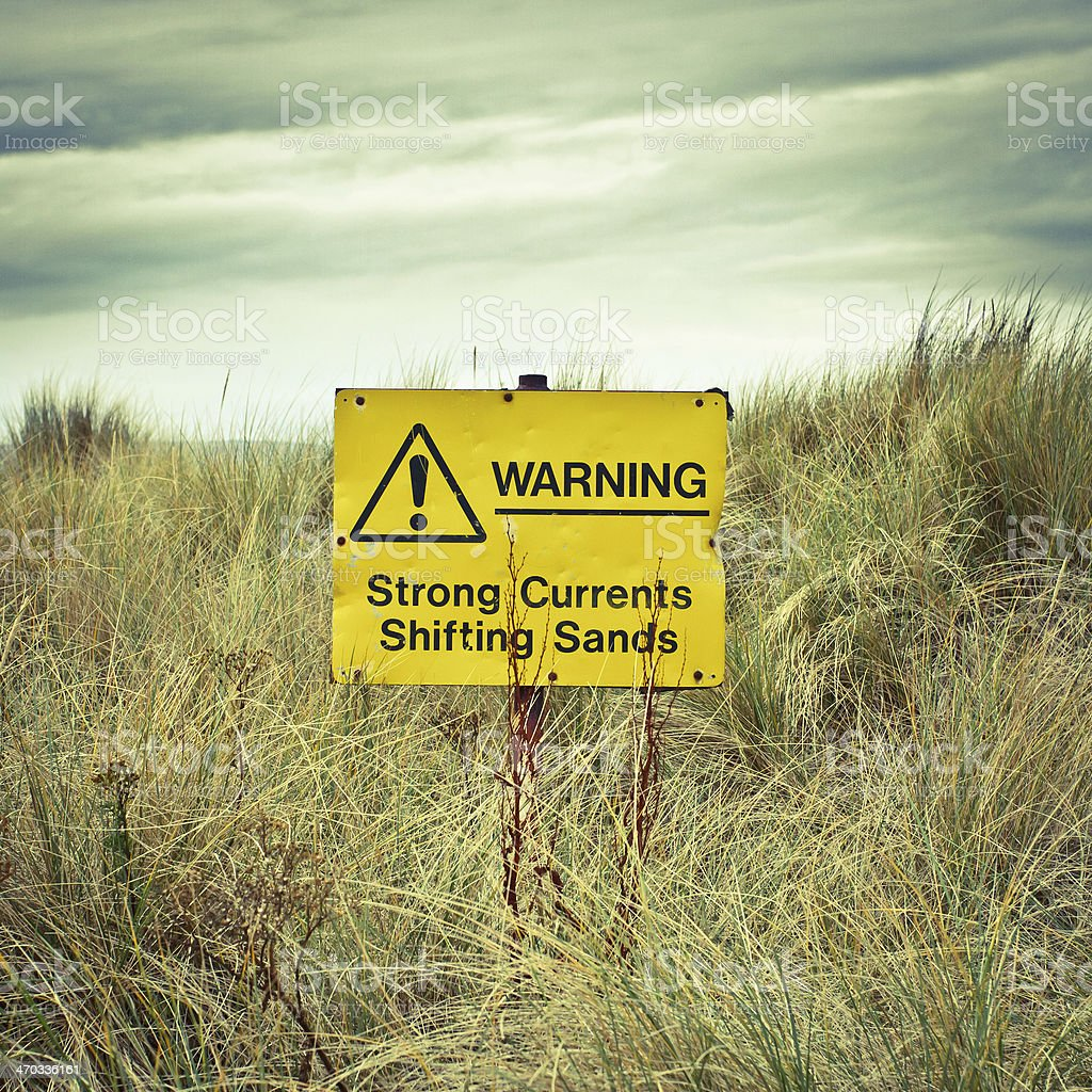 Beach warning sign stock photo