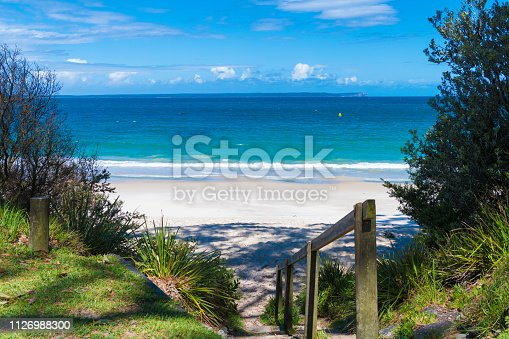 Beach water view in the city of Huskisson, NSW, Australia, a small coastal town well known as gateway to Jervis Bay area