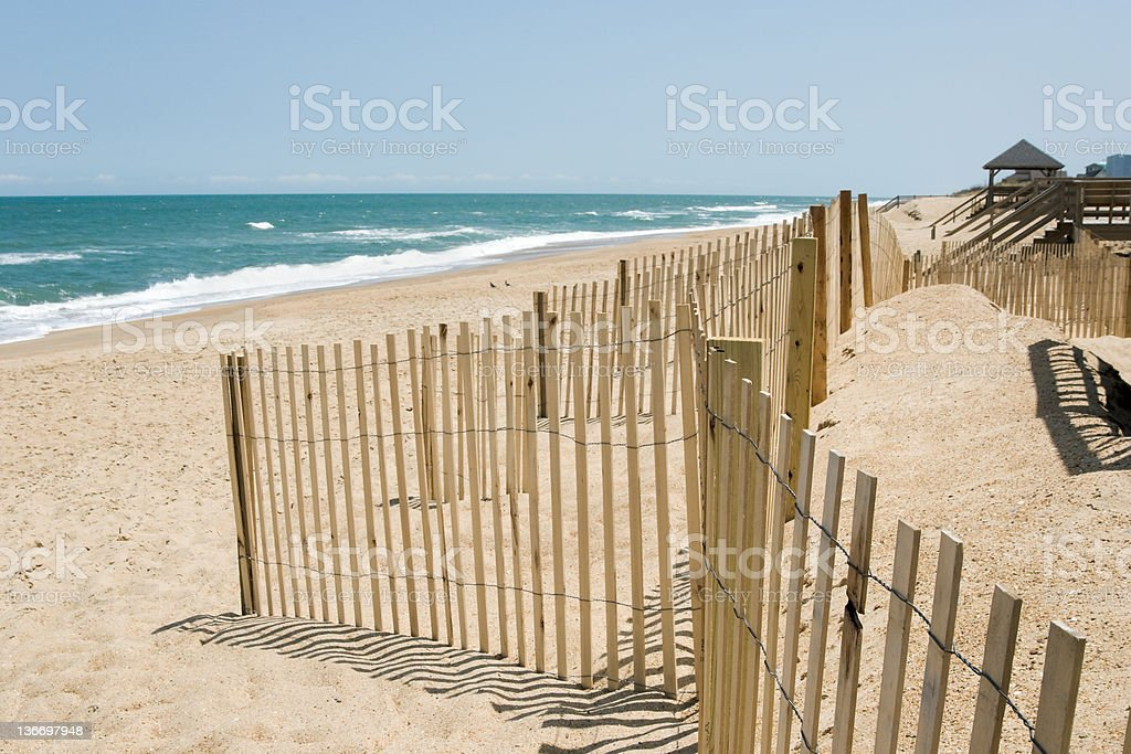 Beach Waves and Dunes Fence, Surf Rolling in Outer Banks stock photo