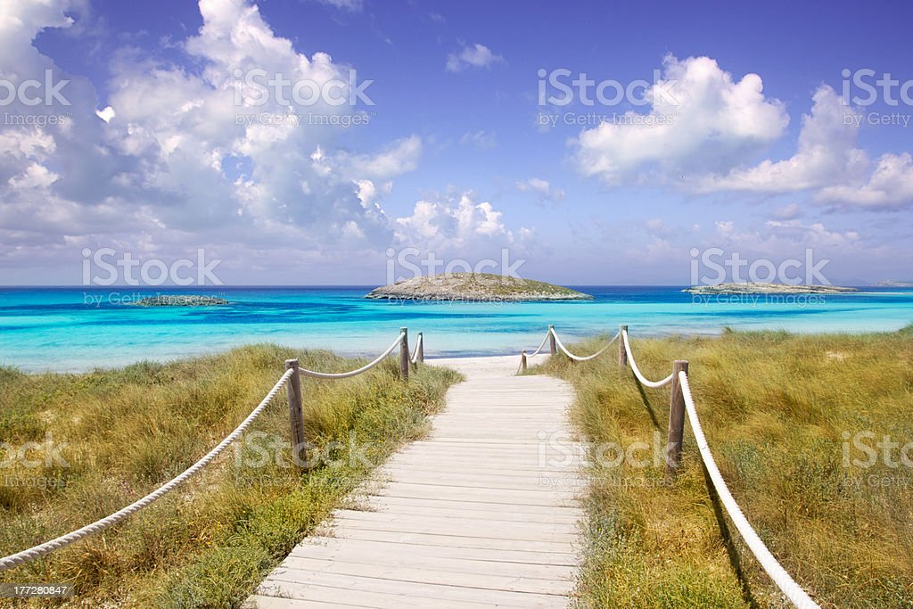 beach way to Illetas paradise in Formentera near Ibiza stock photo