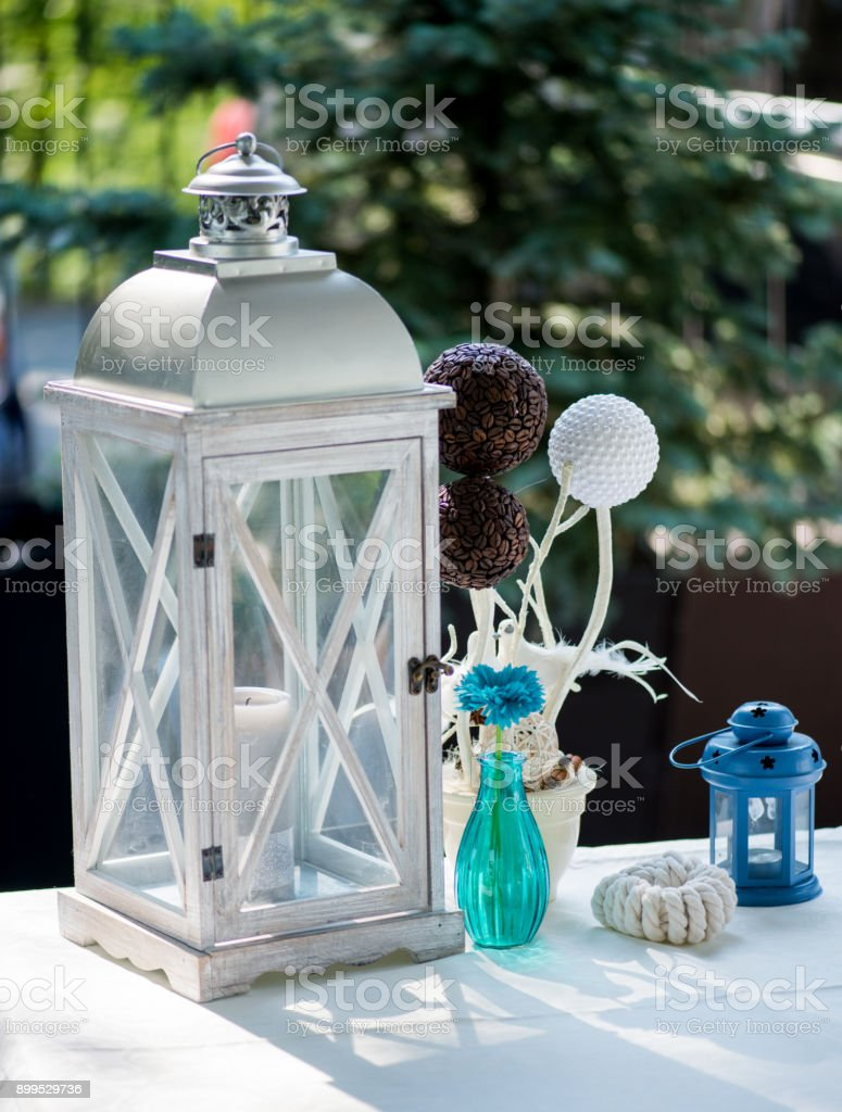 Beach Wedding Interior Decor Natural Seashell And Lantern On Vintage