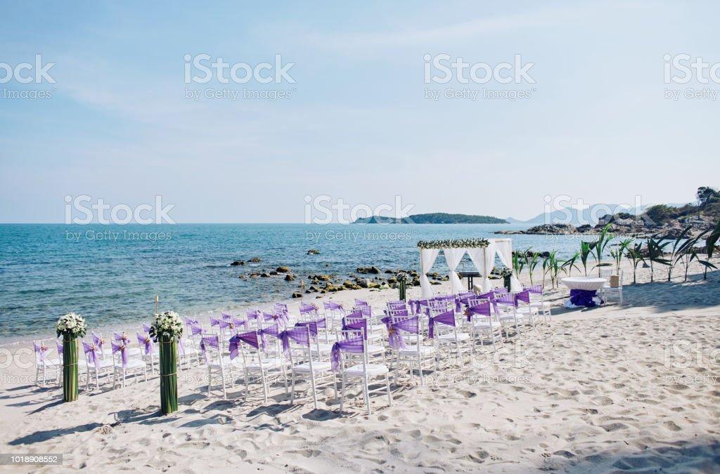 Strand Hochzeit Veranstaltungsort Einstellungen Auf Dem Weissen Sand