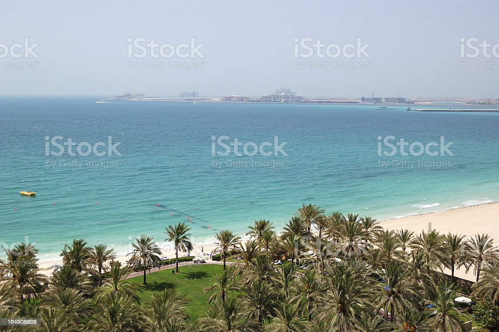 Beach with a view on Jumeirah Palm man-made island royalty-free stock photo