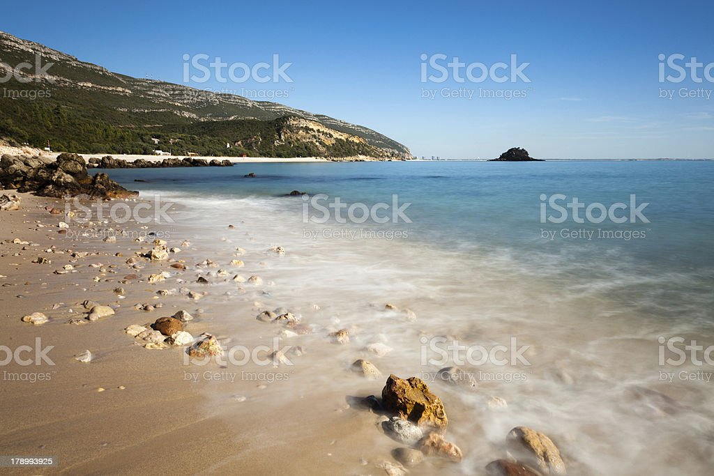 Beach with awesome rocks. royalty-free stock photo