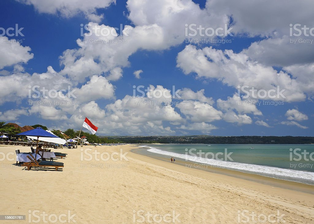 Beach with blue sky and cloud stock photo