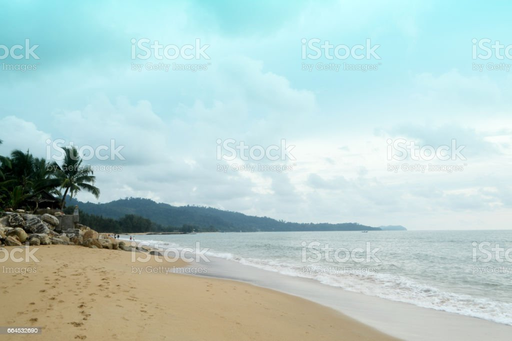 beach with blue sky sand ans sea wave  nature  background royalty-free stock photo