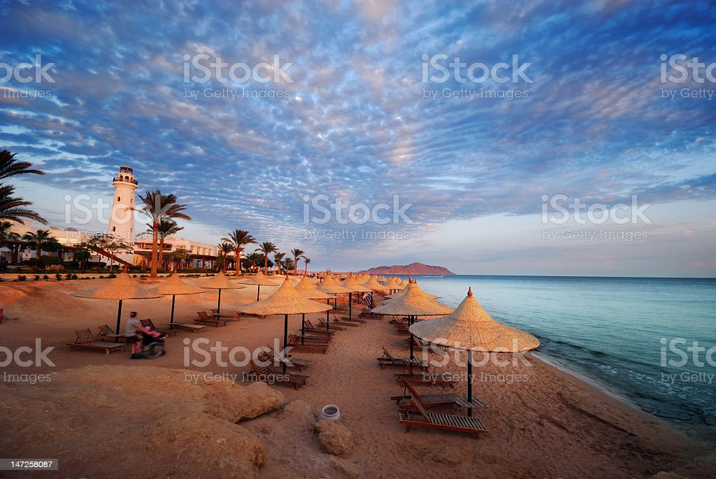 Beach with chairs at Sharm El Sheikh stock photo