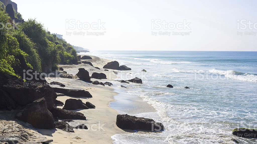 Beach with cliffs in Varkala stock photo