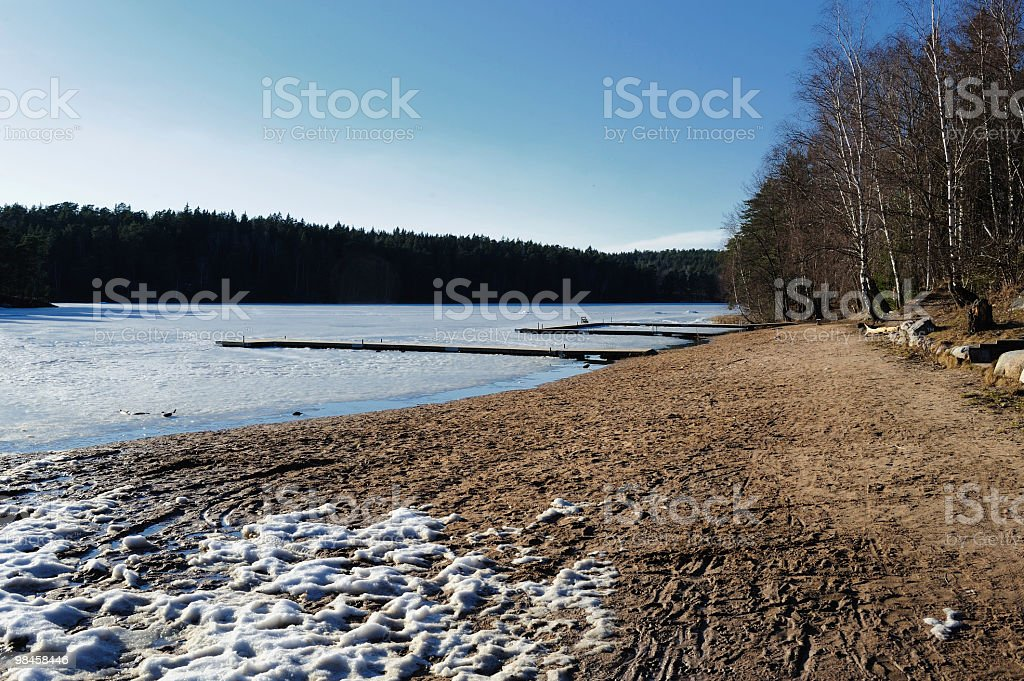 Beach with ice and snow royalty-free stock photo