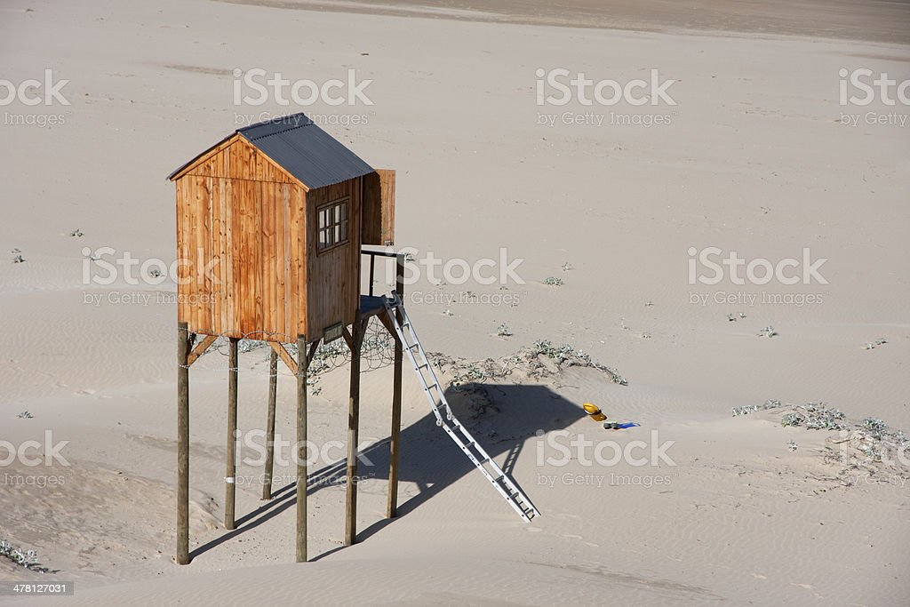 Beach with life guard hut on stilts South Africa stock photo