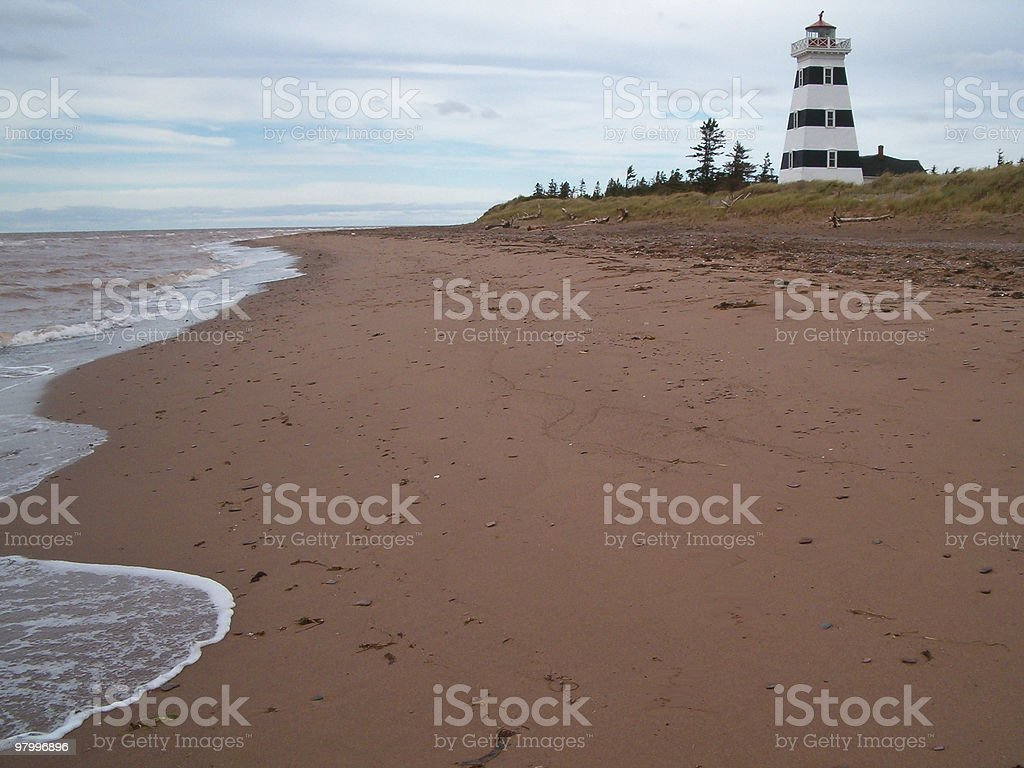 Beach with Lighthouse royalty-free stock photo