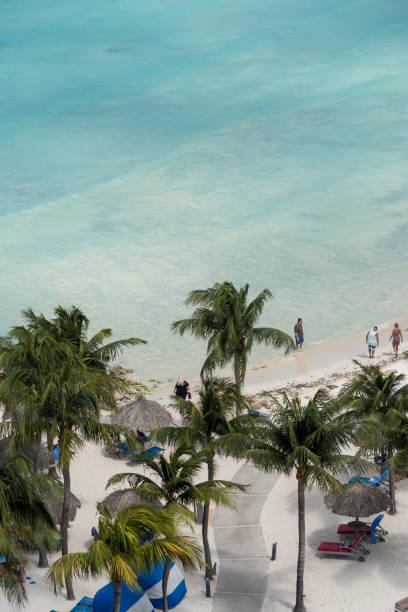 Strand mit Palmen und weißem Sand an der Küste von Aruba. Niederländische Antillen – Foto