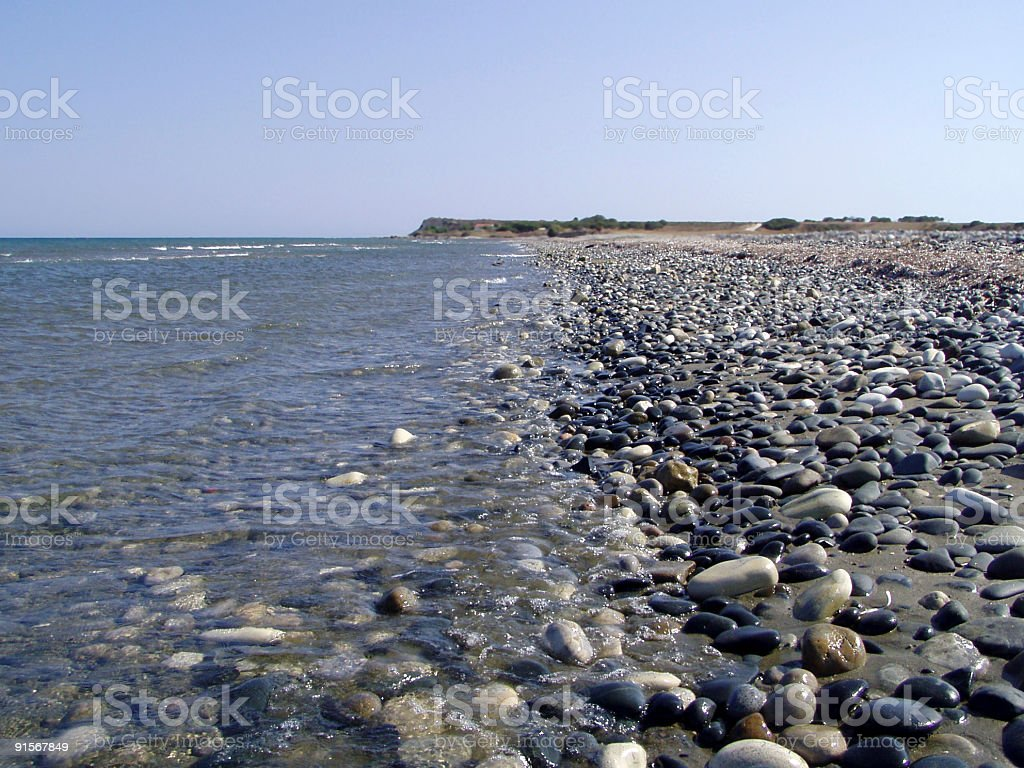 Beach with pebbles royalty-free stock photo