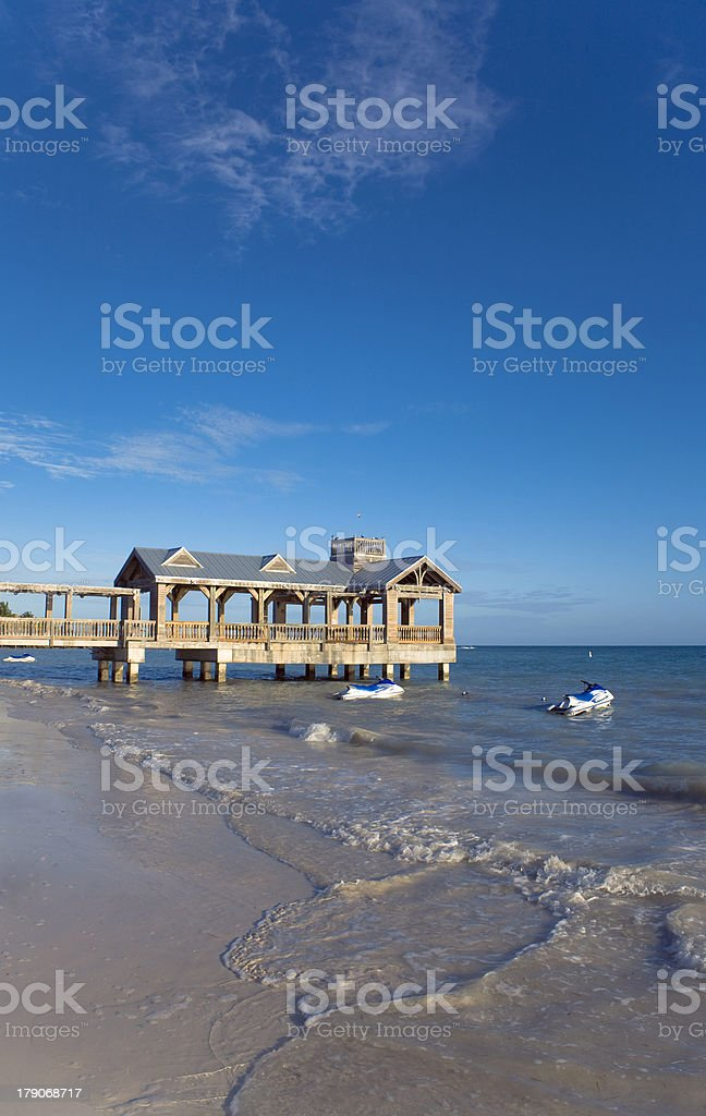 Beach with Rental Jet Skis royalty-free stock photo