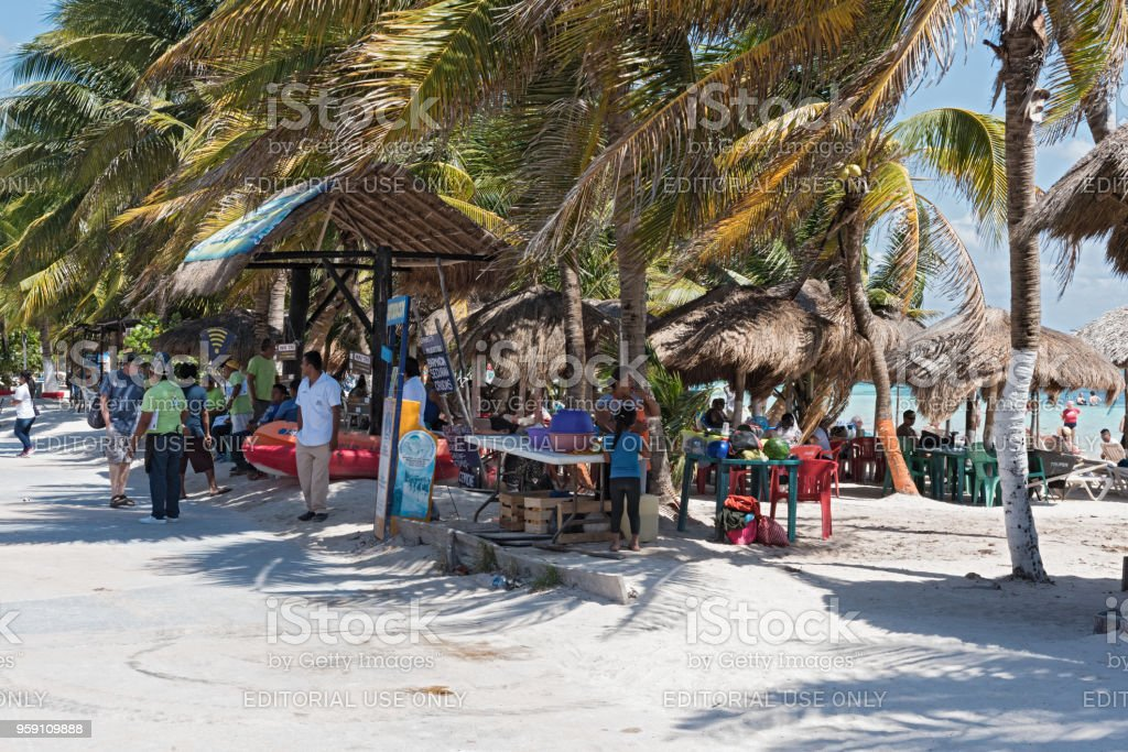 Beach With Souvenir Shops In Mahahual Quintana Roo Mexico Stock Photo Download Image Now Istock